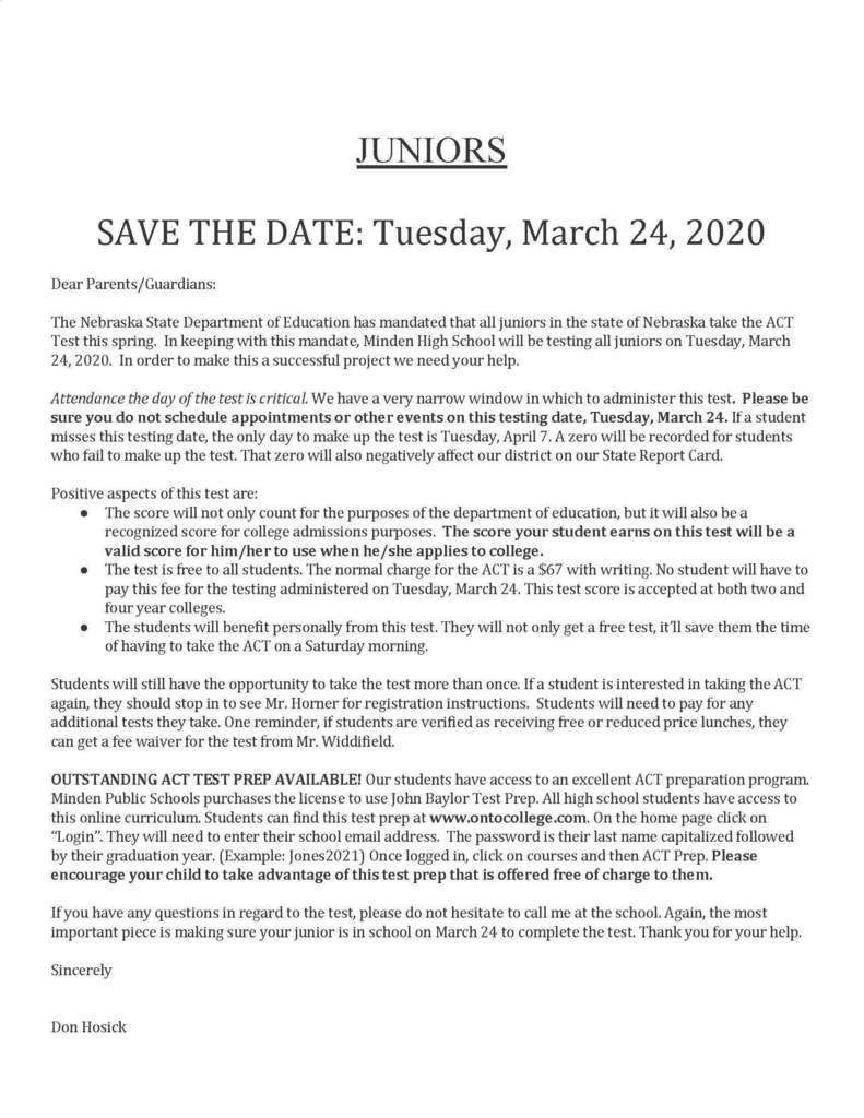 ACT Junior Parent Information Letter