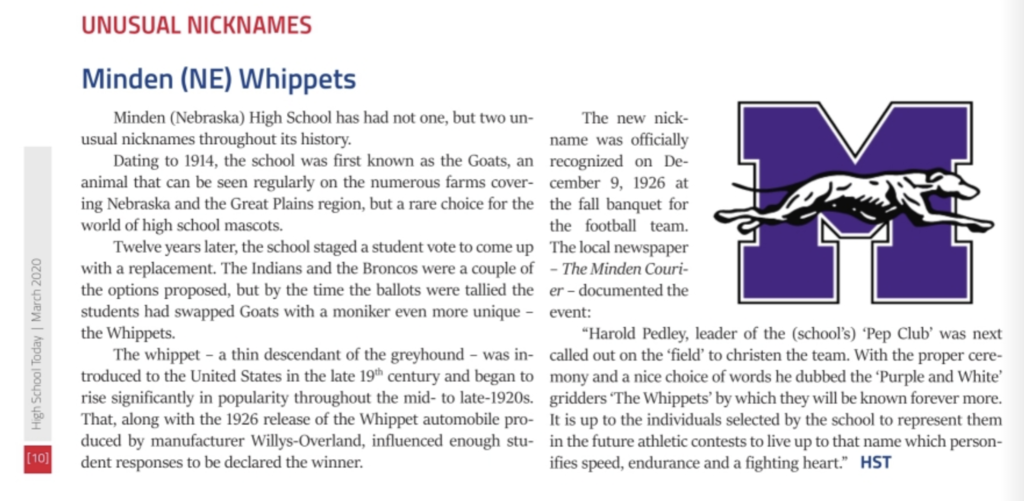 Minden Whippets - High School Today Magazine - March 2020 pg. 8